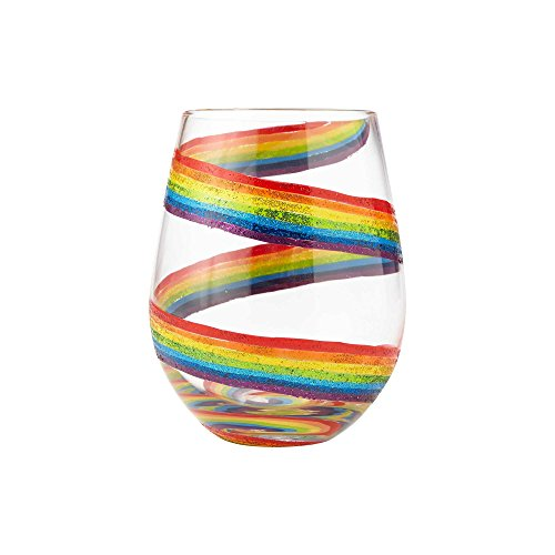 "Enesco Designs by Lolita ""Rainbow"" Hand-Painted Artisan Stemless Wine Glass, 20 Oz, 20 Ounces, Multi -"