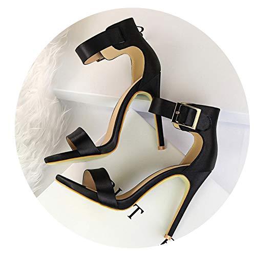 Women Classic Satin 11cm High Heels Fetish Quality Silk Sandals Gladiator Summer Shoes,Black,6