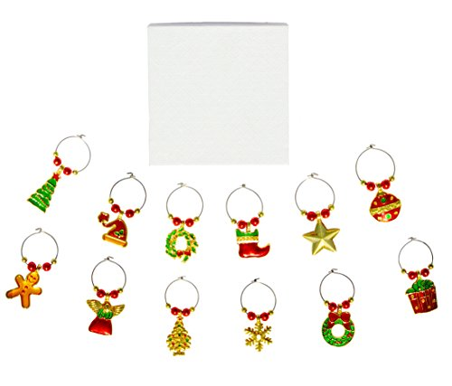 12-Pack Wine Glass Charms - Christmas Themed Wine Glass Markers, Wine Glass Tags, Drink Markers, Drink Tags, Party Favors, Creative Christmas gift, Stocking Filler gift, any occasion ()