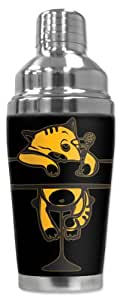 """Mugzie 933-SHA """"Drunk Kitty"""" Cocktail Shaker with Insulated Wetsuit Cover, 16 oz, Black"""