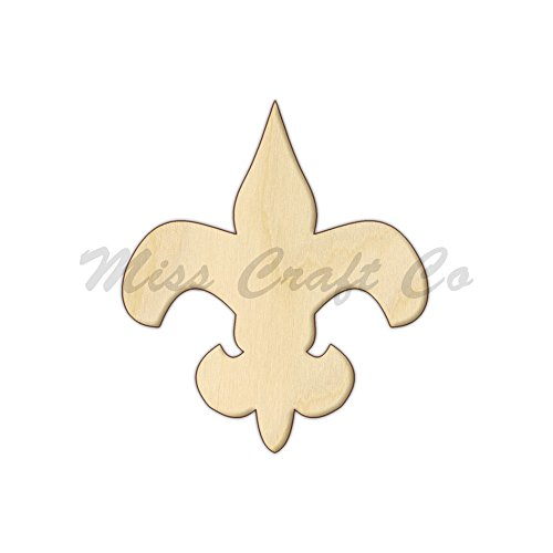 Fleur De Lis Wood Shape Cutout, Wood Craft Shape, Unfinished Wood, DIY Project. All Sizes Available, Small to Big. Made in the USA. 12 X 10.3 INCHES