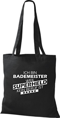 Shirtstown Bolso de tela Estoy Salvavidas, weil Superheld sin Trabajo ist Negro