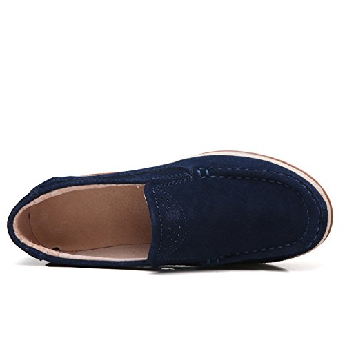 Platform Blue Women Moccasins Wedge Ladies Loafers Sneakers Low Comfort for Wide On Suede PINGYE Top Shoes Slip a5Uqq