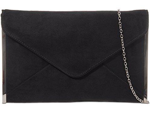 Women's Bag Ladies Clutch Suede Bag Party Evening Bag K50292 Handbag Black Envelope Purse qYHIHp
