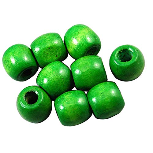 Fityle 100 Pieces Dyed Round Wood Ball Wooden Beads for Jewelry Making Craft DIY - Green, 17mm ()