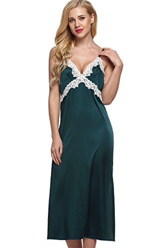 Ekouaer Women's Sexy Satin Long Chemise Sleepwear Slip Night Gown (Green, S) -