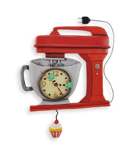 Allen Designs Red Vintage Kitchen Mixer Wall Clock| Home Wall Art Decor
