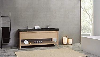 "BIBURY 72/"" Whitewash Oak Free Standing Modern Bathroom Vanity"