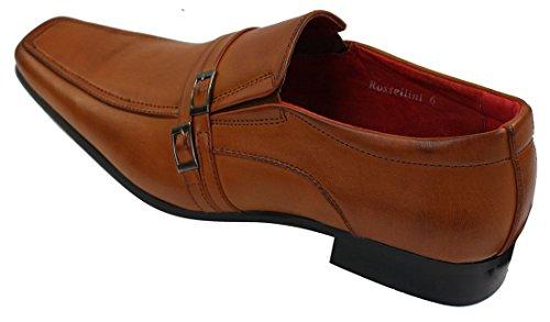 Herrenleder On Slip Braun lässig Schuhe mit formell Schnalle Optik 80E0xnwWZ
