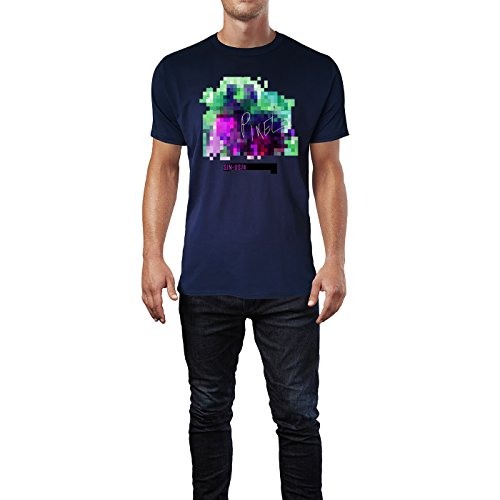 SINUS ART® Colour Splash Elefant, Rentier, Löwe & Hase Herren T-Shirts in Navy Blau Fun Shirt mit tollen Aufdruck