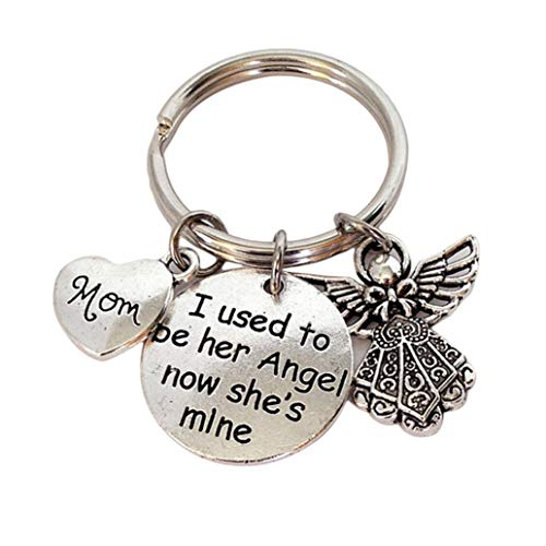 - LJSLYJ Family Keyrings Gift Carved mom I Used to be her Angel Now she is Mine