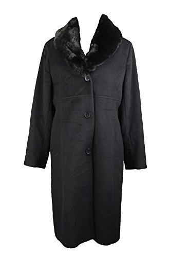 - Jones York Black Faux-Fur-Collar Walker Coat