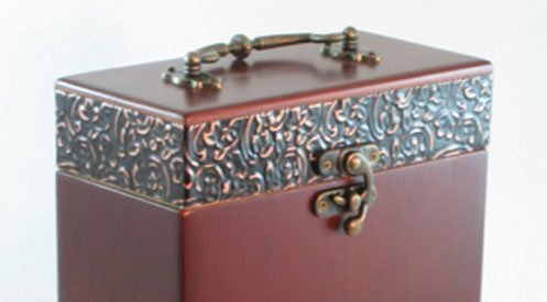 Solid Wood Cremation Urn With Decorative Metal Accents