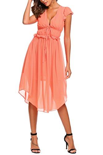 Zeela Women's Sleeveless Sexy V Neck Pleated high waist Long Dress