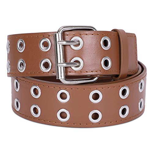 Womens Double Grommet Faux Leather Belt Mens Punk Goth Studded Belts for Jeans Costume by SANSTHS, Brown M