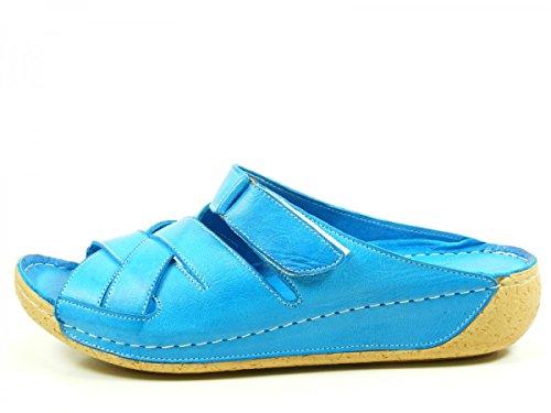Andrea Conti 0799206 Schuhe Damen Sandalen Comfort Keil Pantoletten Blau