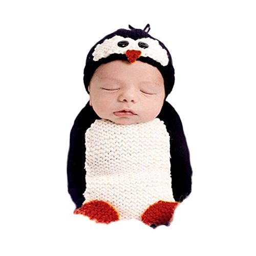 Fashion Newborn Baby Photography Props Boy Girls Photo Shoot Props Outfits Crochet Knitted Costume Unisex Cute Infant Hat Pants Set (Penguin Sleeping Bag) for $<!--$14.98-->
