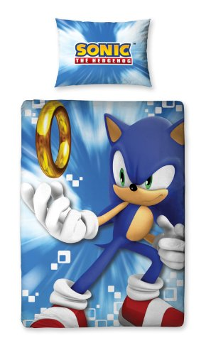 Linen Ideas Sonic the Hedgehog 'Spin' Panel Single Bed Du...
