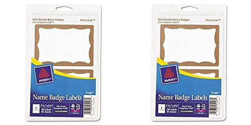 Avery Gold Border Name Badge Labels, 2.343 x 3.375 Inches, Pack of 100 (05146), 2 Packs