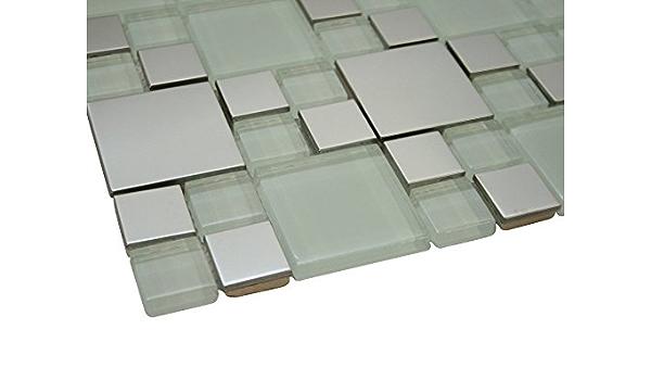 Glossy White And Silver Metallic Square Glass Random Pattern Mosaic Tiles For Bathroom And Kitchen Walls Kitchen Backsplashes Amazon Com