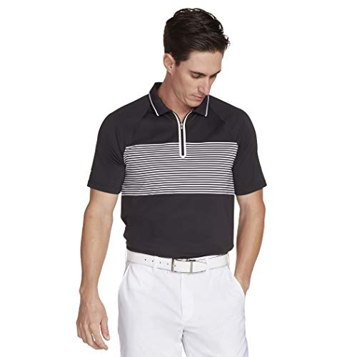 Skechers Golf Men's Fade Stripe Modern Fit Short Sleeve Zip Golf Polo, Bold Black, XL