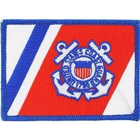 - USCG Flag, RWB - Embroidered Patches, Premium Quality Iron On Patch - 2.5