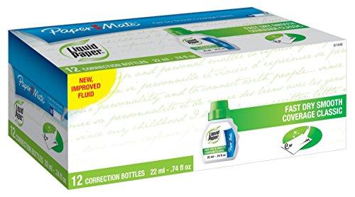 Liquid Paper Fast Dry Correction Fluid, 22ml, White, 12 Bottles