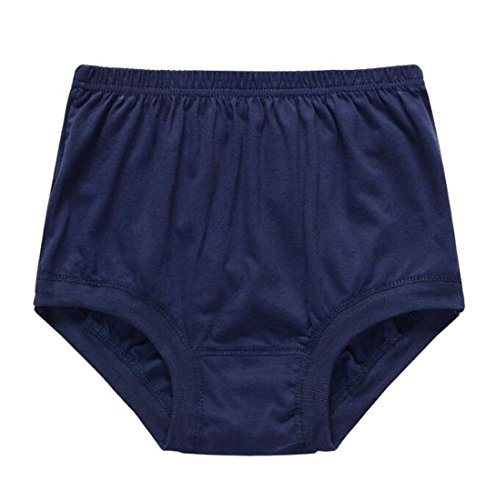 Uuyuk Men Plus Size High Waist Cotton Breathable Briefs Underwear Panties Navy Blue US 5XL
