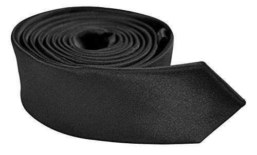 Moda Di Raza- Mens Skinny Tie 2 inch Satin Silk Finish Polyester neckTies - Black (Mens Solid Skinny Ties compare prices)