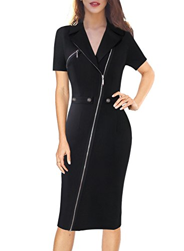 VFSHOW Womens Lapel Asymmetric Zip Buttons Wear to Work Office Sheath Dress 322 BLK S