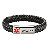 [Engraving] Leather Medical Alert Bracelet - Personalized Medical ID for Men Women Kids Custom Diabetic Alert Bracelet-Black