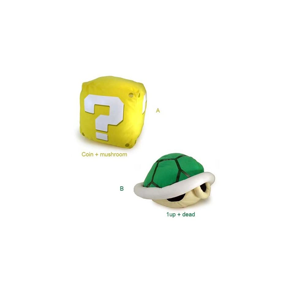 Nintendo Super Mario Bros Sound Plush Figure Set of 2   Question Block Brick + Turtle Shield