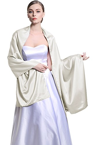 Stain Warp Versatile Scarf Shawl Bridal Stole Wedding Silky Shrug for Women's Evening Prom Party Silver
