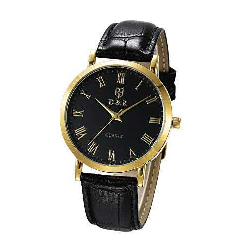 Men Women Quartz Watch Japan Movement Wristwatch Leather Strap Waterproof Wrist Watch Roman Numerals (Men Black Dial Black Strap)