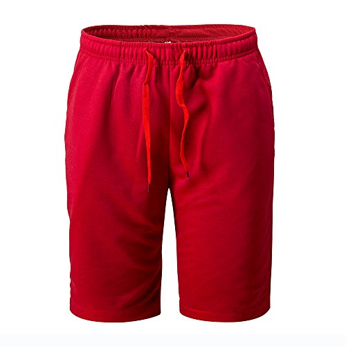 Nevera Men Casual Solid Elastic Waist Active Jogger Gym Sports Shorts Red -