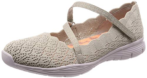 Skechers Women's Seager-Strike Out-Scalloped Engineered Knit Mary Jane Flat, Natural 8.5 M ()