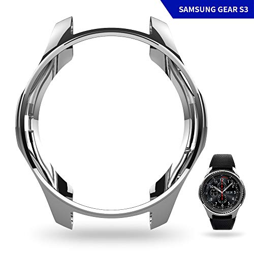 UBOLE Case for SAMSUNG Gear S3, Shock-proof and Shatter-resistant Protective shell TPU Cover Case for Samsung Gear S3 Frontier/Classical and Galaxy Watch 46mm Smartwatch (silver)