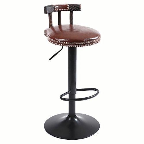 A High Stool Retro Bar Chair, Solid Wood Bar Chair Bar Stool Café Restaurant Chair Bar Counter Chair Bar Chair Cashier Creative Home Furnishing Lifting20cm redatable High Chair 8 colors Boutique