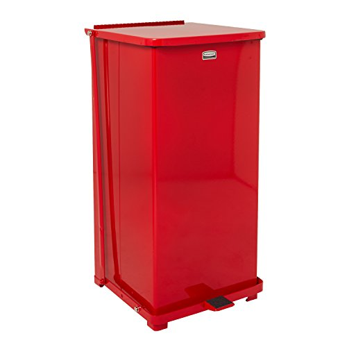 [Rubbermaid FGST24ERBRD Red Steel Square The Defenders Step Can with Retainer Bands, 24 gallon Capacity, 15