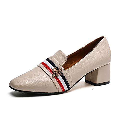 Femeninos Hada Femenino Zapatos De Un tacón Solo Apricot Un Yukun Zapatos con Zapatos con de alto Áspera Otoño zapatos Pequeños Salvaje P0qH4