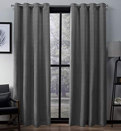 Exclusive Home Curtains Virenze Faux Silk Window Curtain Panel Pair with Grommet Top, 54x96, Silver Cloud, 2 Piece (Drapery Ready Made Silk Panels)