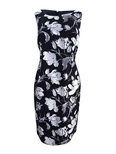 Kasper Women's Plus Size Floral Jacquard Sheath Dress, Silver/Multi, 16W