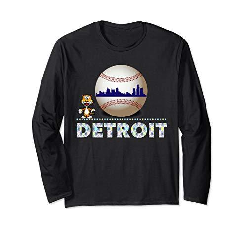 (Distressed Tiger Mascot Long Sleeve Shirt Detroit Skyline )