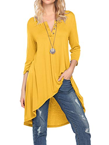 (Naggoo Women's Half Sleeve High Low Loose Fit Casual Tunic Tops Tee Shirt Dress (Yellow, 3XL))