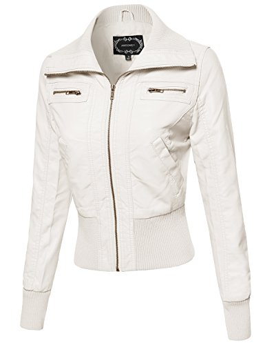 White Leather Biker Jacket - 7
