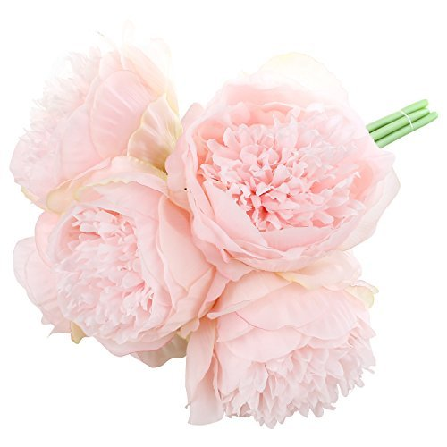 SOLEDI Silk Peony Bouquet 5 Heads Light Pink Artificial Fake Flower Bunch Bouquet Bridal Bouquet Wedding Living Room Table Home Garden Decoration ()