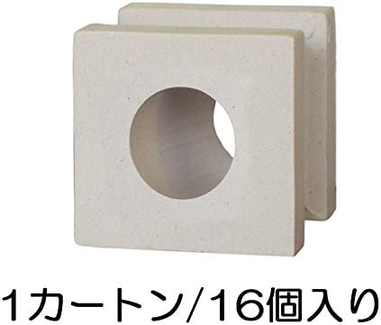 ブロック 磁器質無釉ブロック ポーラスブロック100 ライトグレー サークルA(配筋溝あり・4本角溝) 16個セット単位 屋外壁