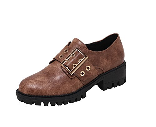 Odomolor Women's Kitten-Heels Round Closed Toe Solid Pull-On PU Court Shoes Brown 7y0cUCw