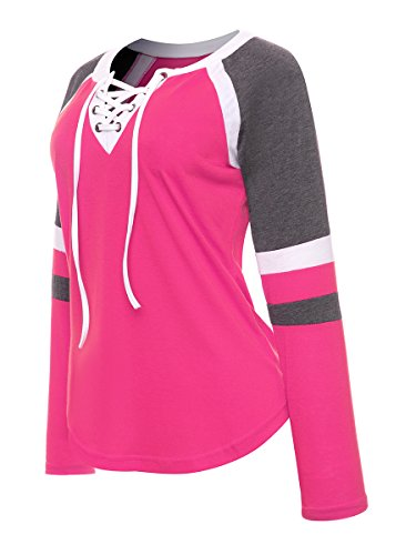 Block Plein Femmes Color Lace Baseball Air Avant T Rose O Blouse Advocator Cou Sport Chemises Casual Manches Tops Up en Longues Shirt zdqqwFa