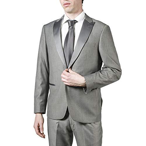 London Fog Men's L79613/1 Peak Lapel Classic Fit Two Piece Tuxedo Suit - Light Grey - 40R ()